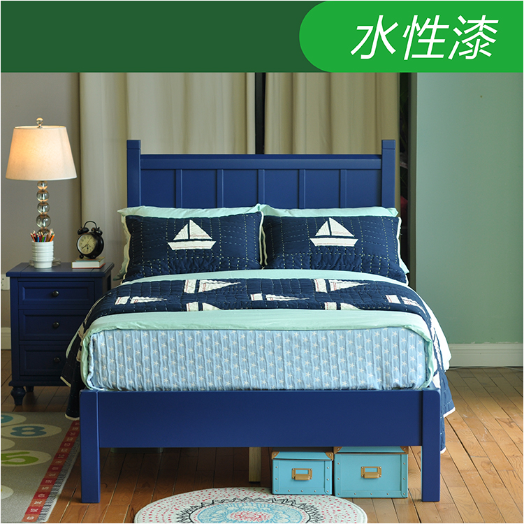 All solid wood children's bed blue custom furniture, Nordic simple solid wood bed boys single bed double bed custom
