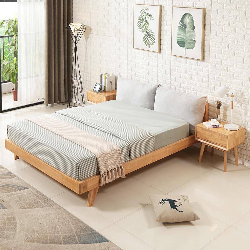 Solid wood beds, double 1.5m1.8 meters, Nordic Japanese style wedding bed, simple modern master bedroom furniture, oak soft