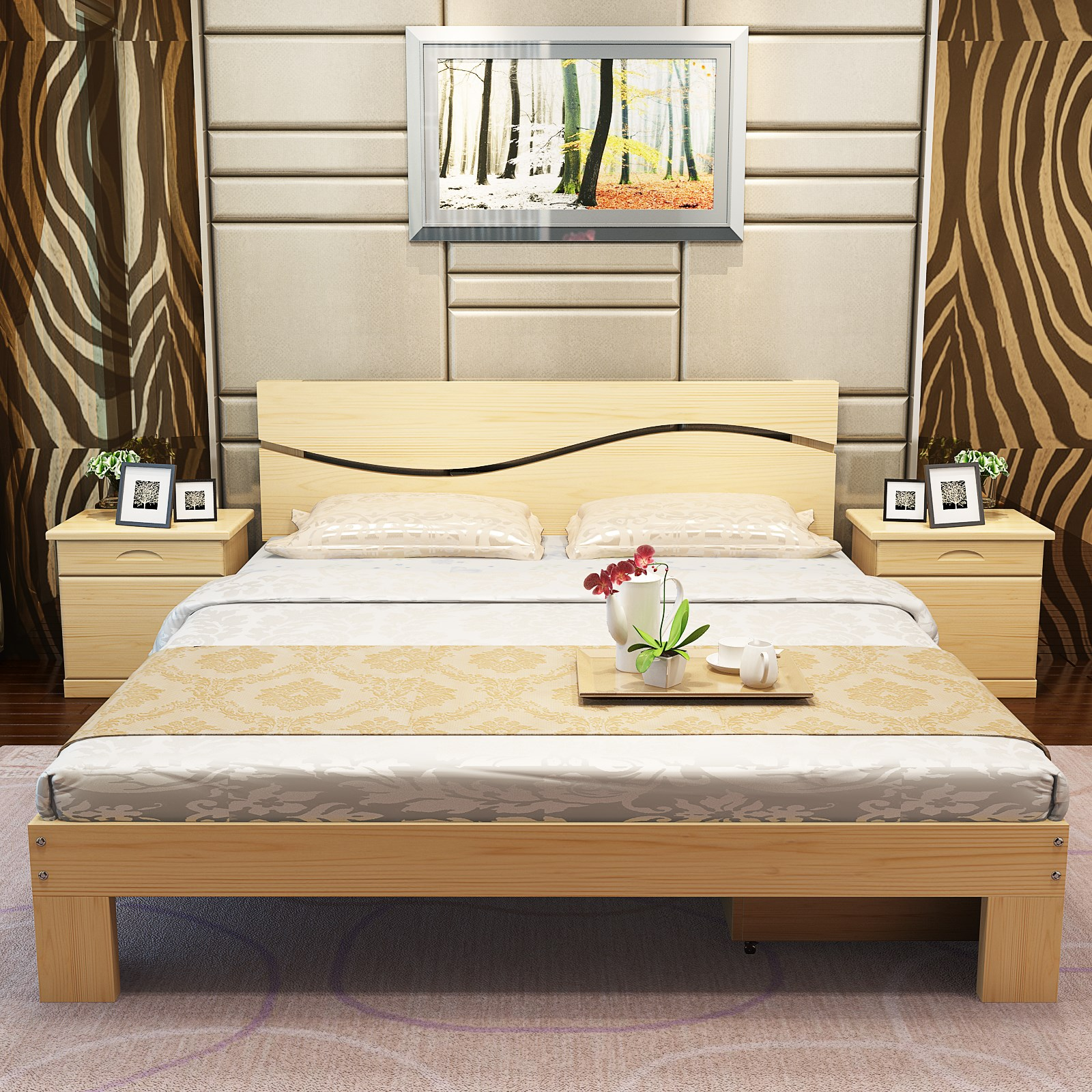 Shipping wood bed 1.5 meters 1.2 meters 1.8 meters double bed single bed pine adult children bed bed bed meters