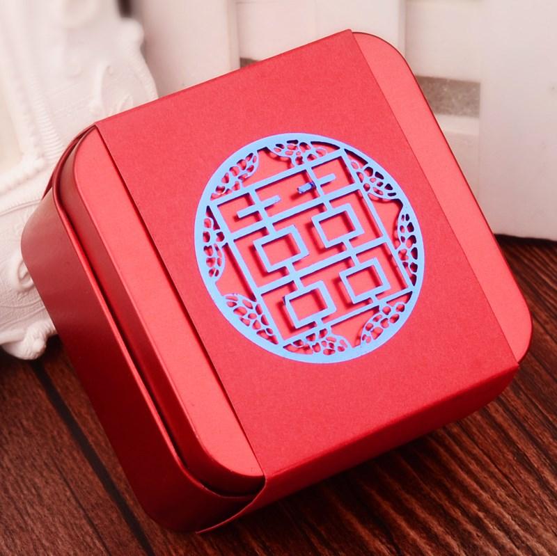甘い箱の卸売創意結婚慶砂糖入れ結婚式セット韓式ブリキ甘い箱鉄箱長方形