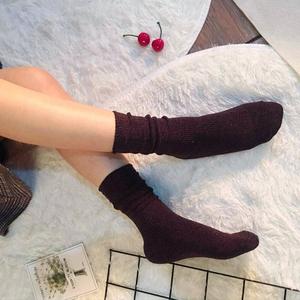 秋季新款堆堆袜女中筒袜韩版运动森系复古堆堆袜粗线ins秋季女袜