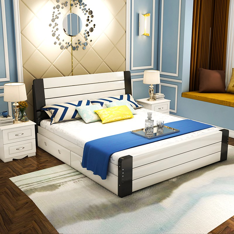Solid wood bed 1.8 meters, simple modern double bed, white master bedroom, storage bed, 1.5 meters economy type adult pine bed