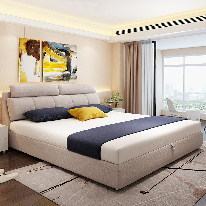 Nordic fabric bed washable wood double bed 2 meters 2.2 master bedroom widened simple modern bed CBD