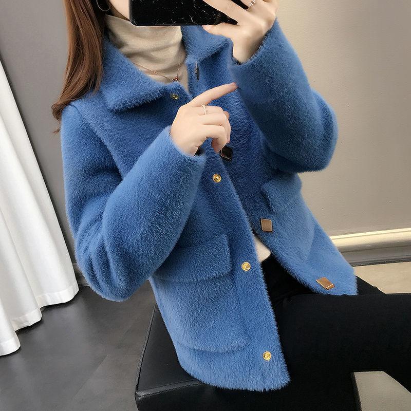 外套女加厚冬2020新款韩版女装短外套水貂绒宽松毛衣女针织开衫潮