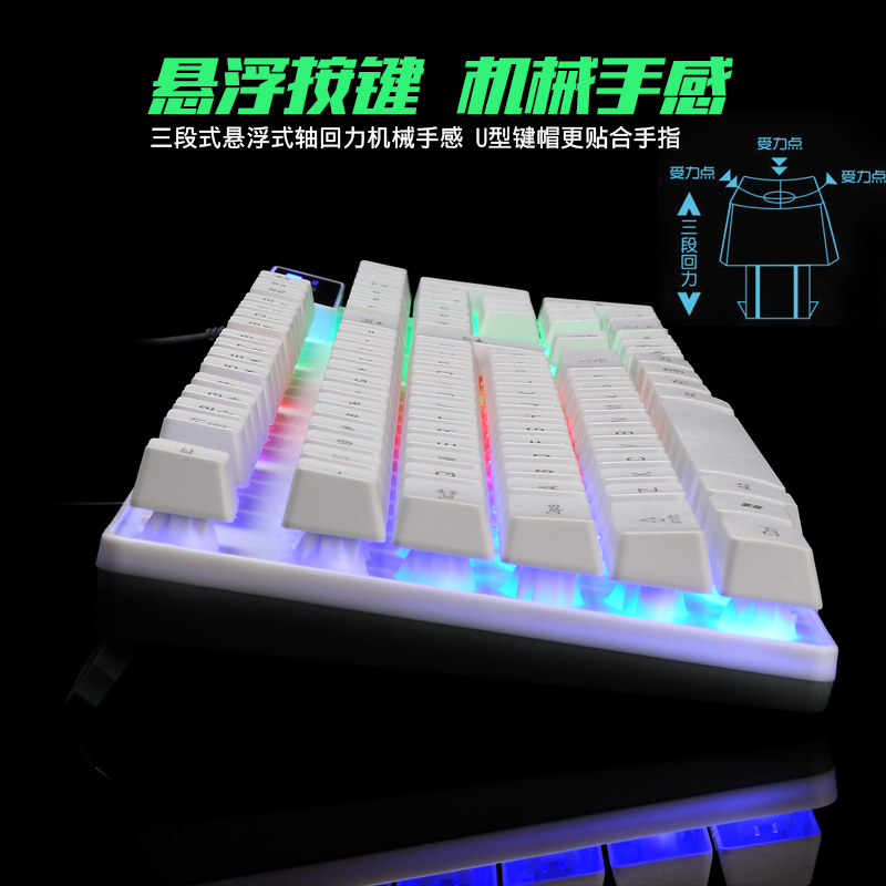 Game keyboard, mouse set, wired mechanical feel, luminous metal desk machine
