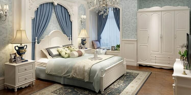 American country solid wood double bed, Mediterranean pastoral style furniture bed, European style 1.5 meters 1.8 meters high box marriage bed