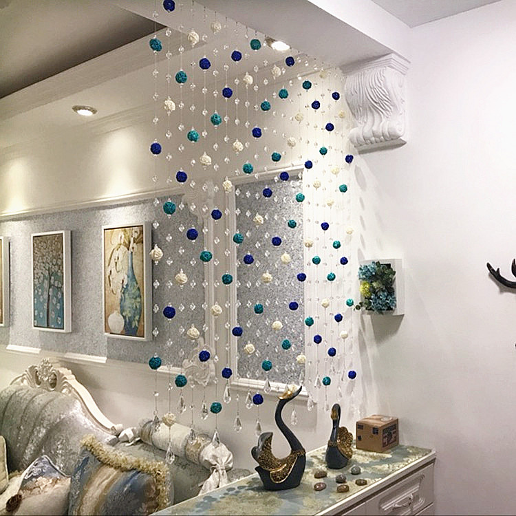 Refined crystal bead curtain curtain curtain curtain entrance sepaktakraw partition curtains bedroom living room feng shui arc bead curtain