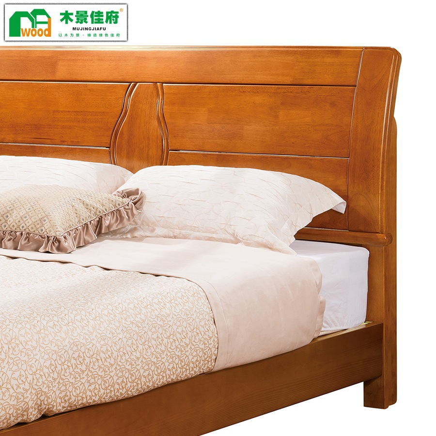 Thinking craftsman new Chinese solid wood bed, 1.8 meters solid wood bedroom double bed, low box oak bed storage bed