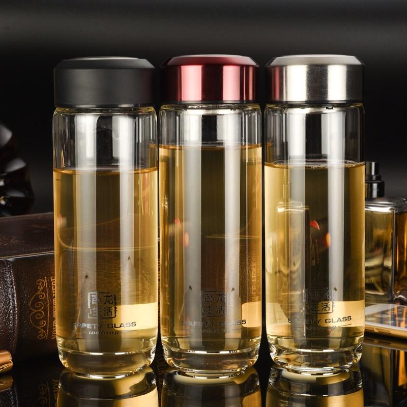 Una sola capa de vidrio de doble aislamiento conveniente taza copa de cristal con tapa el vaso de té de filtrado doméstico