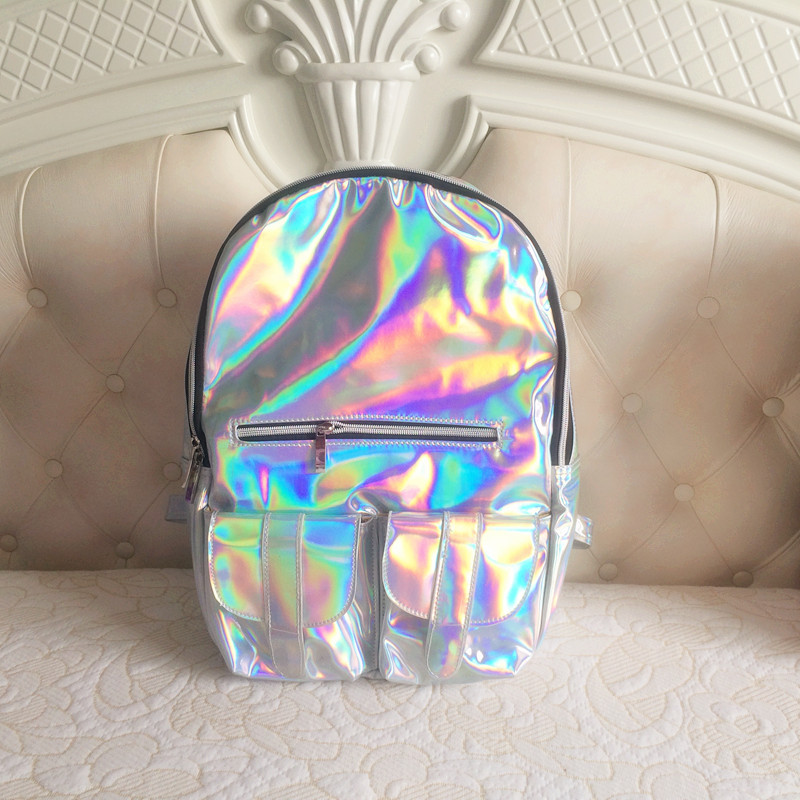 Hologram Silvers: Cool~ Hologram Holographic Silver Laser PU Backpack School