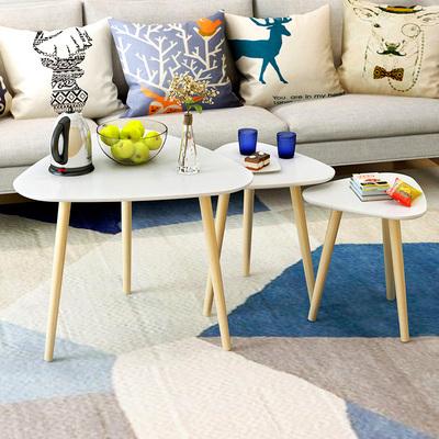 简约现代边几角几北欧实木腿小圆桌小户型迷你沙发茶几客厅小桌子