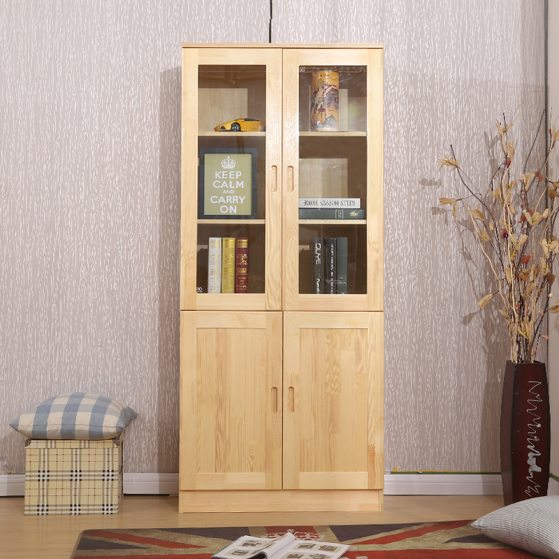 Solid wood bookcase with a glass door pine bookcase free combination children bookcase floor rack simple storage cabinet
