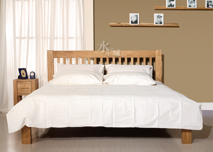 Home modern minimalist creative Chinese environmental protection solid wood oak lacquer free wooden adult double bed