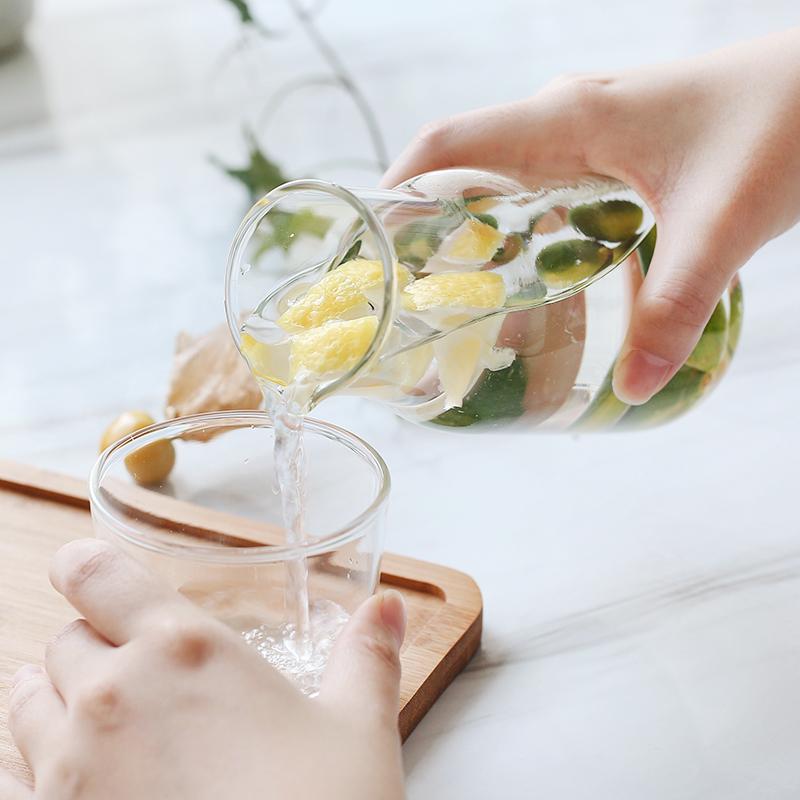 玻璃單人杯一壺一杯套裝北歐風格耐熱玻璃茶壺耐高溫水杯酒杯飲料果汁杯茶杯