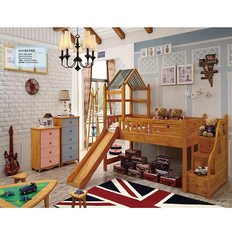 Los niños en la cama cama doble de madera maciza de la mitad de la altura de la cama o litera combinación multifuncional con escritorio de niñas