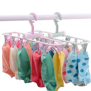 可折叠挂袜子的架子多带夹子衣架凉袜衣撑内衣婴儿夹晒内裤晾衣架