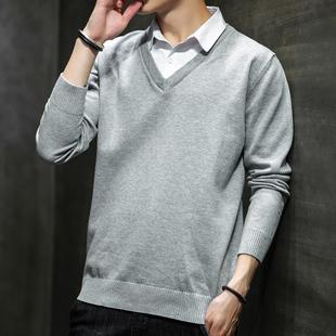 衬衫领毛衣男韩版假领针织衫男士潮流假两件个性打底上衣秋冬线衣