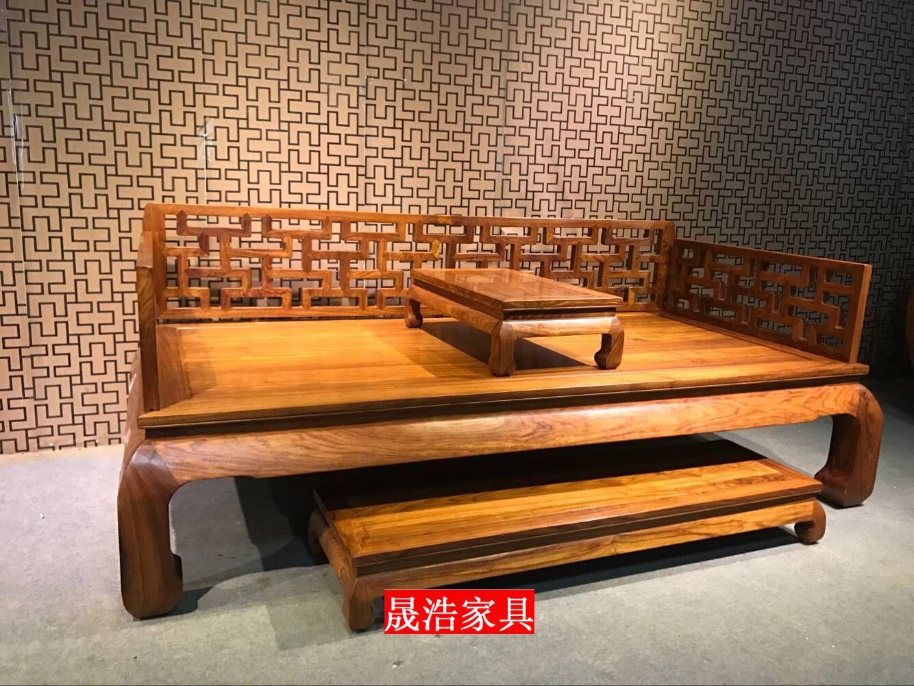 ハリネズミ紫檀万字羅漢ベッドの3点セット木造リビングソファベッド羅漢畳も貴妃があり