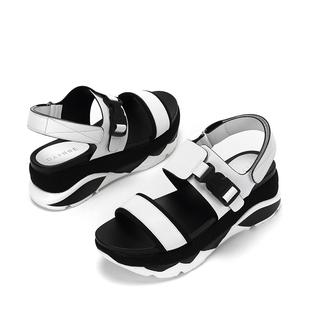 新款女鞋子女凉鞋舒适松糕女学院风拼色魔术贴厚底百搭韩版通勤潮
