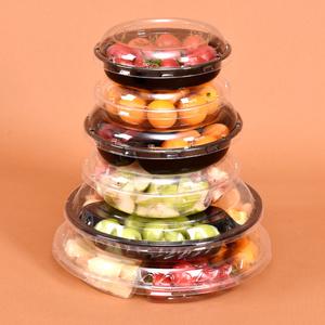 一次性透明水果盘分格果切三拼盘水果盒塑料保鲜打包盒沙拉包装盒