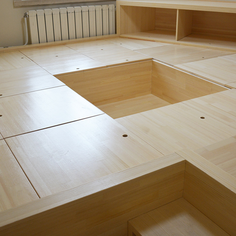 The whole house custom tatami bed bedroom bed platform custom oak pine wood lockers overall combined box
