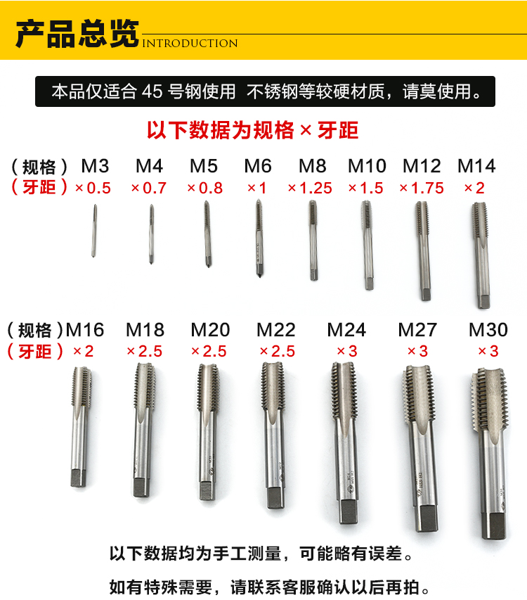 M2, alloy steel, high speed steel, full grinding wire tap, hand tap M3-M30