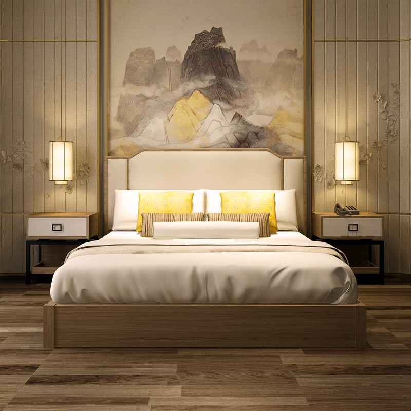 New Chinese style solid wood 1.8 meters double bed, simple modern bedroom Hotel, hotel model project Furniture Customization