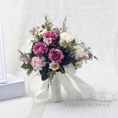 婚纱影楼摄影拍照道具新娘手捧花结婚新款粉红白仿真韩式牡丹花束