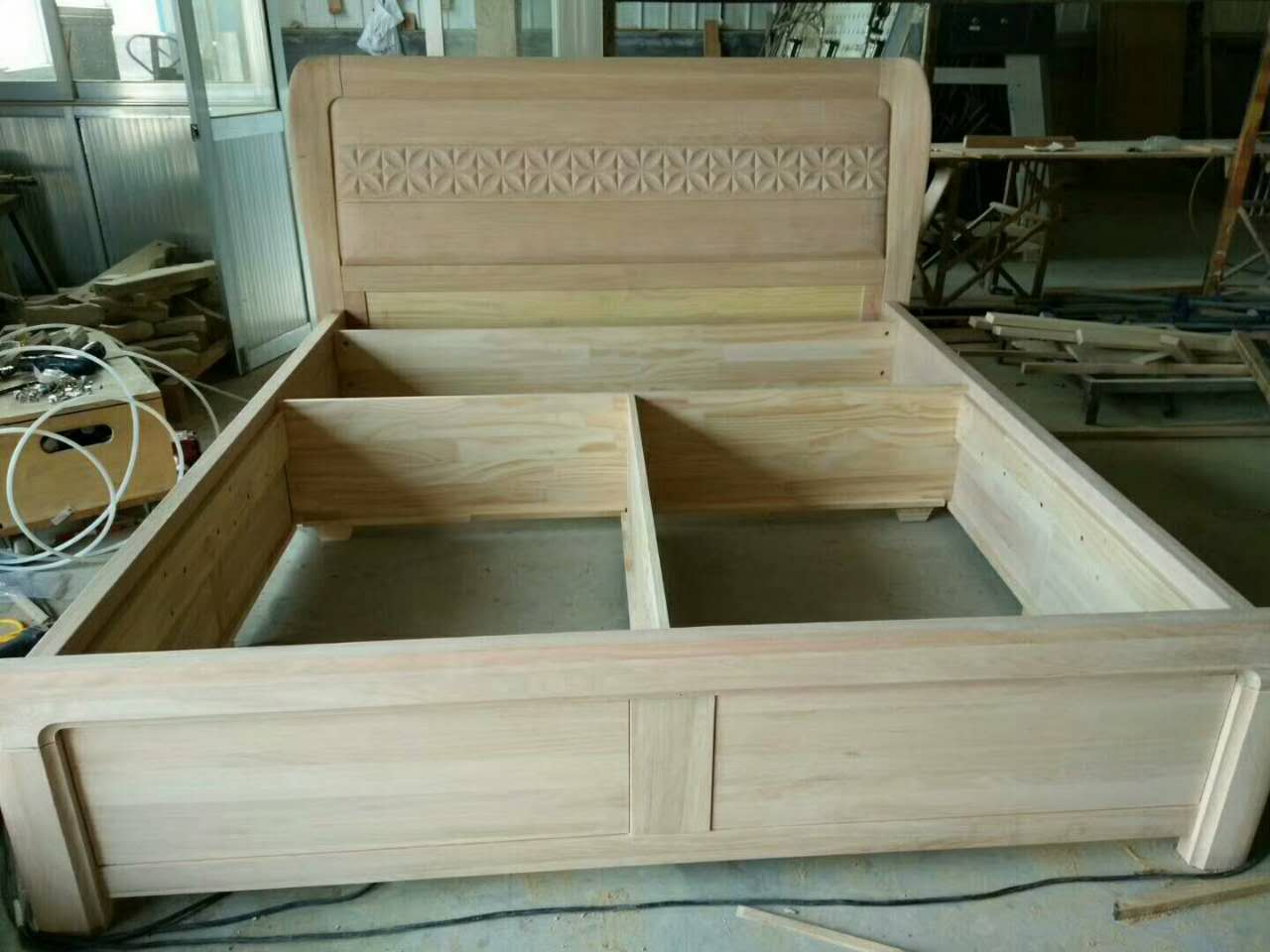 Zhucheng Yong Lian wood, white oak, red oak, solid wood bed, 1.8 meters double bed, Golden Teak, American style Chinese style