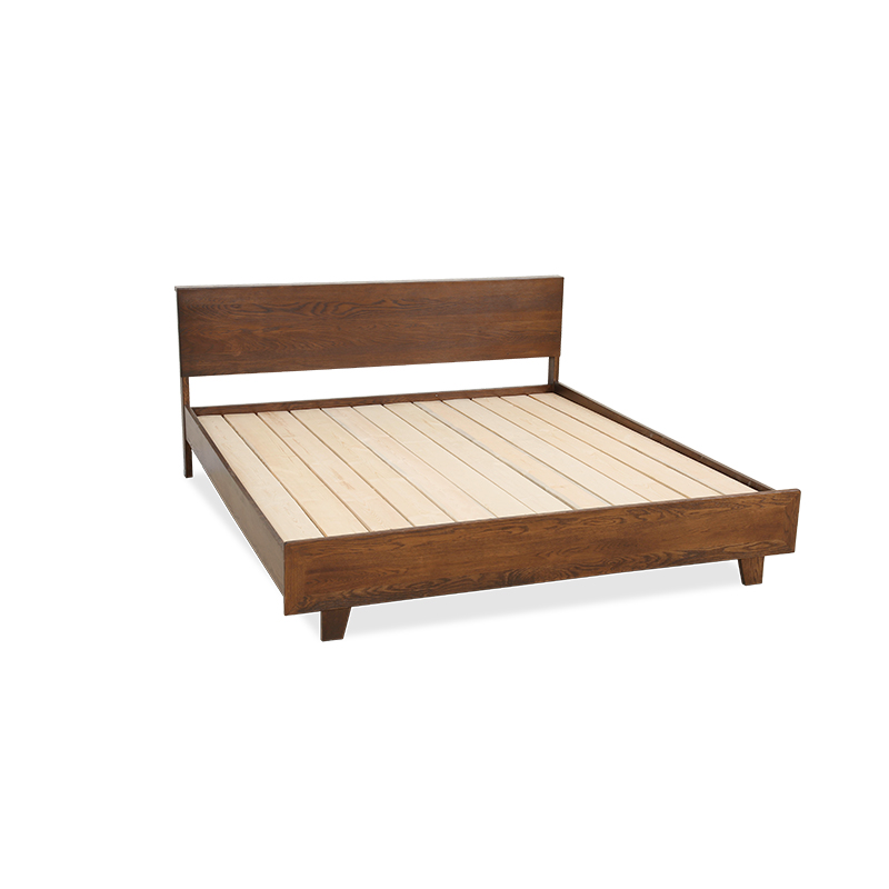 Japanese style solid wood bed, white oak 1.51.8m, simple modern double bed, master bedroom, economical bedroom furniture