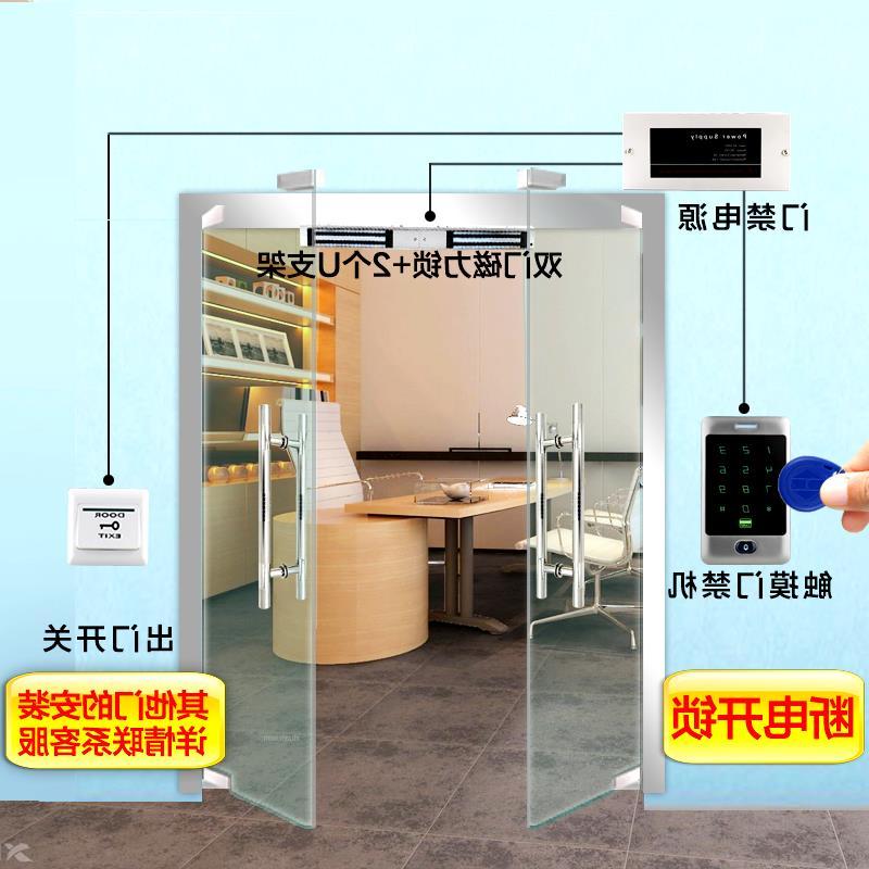 Het wachtwoord is een glazen deur met ijzeren deuren van het Bureau aan de toegang tot het systeem van magnetische sloten hele reeks