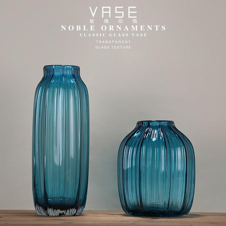 中小一套  bx  (藍)歐式鄉村雜貨花瓶 地中海 藍色透明玻璃水培花瓶家居裝飾花器擺件