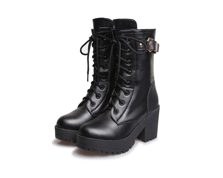 British New Black High Quality Genuine Leather Platform Chunky High
