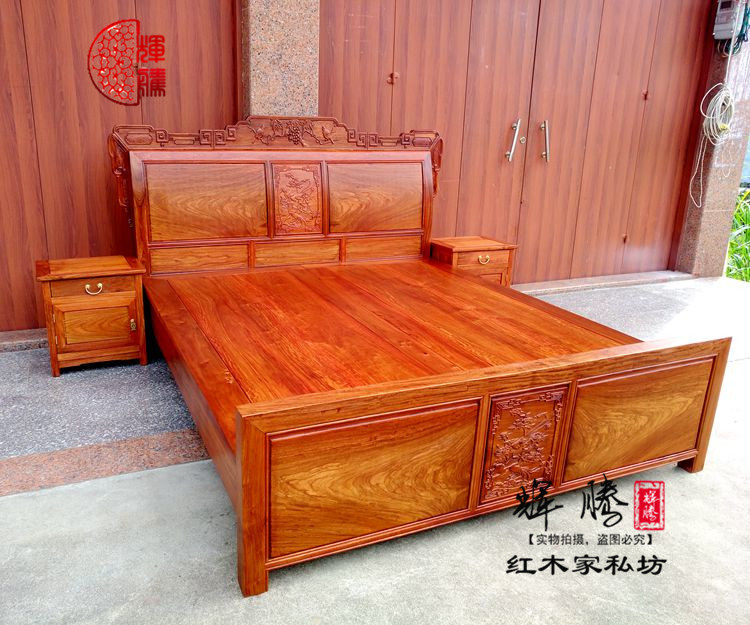 Burma Phaeton mahogany furniture rosewood bed 1.8 meters double bed with the marriage bed of antique Ming wood