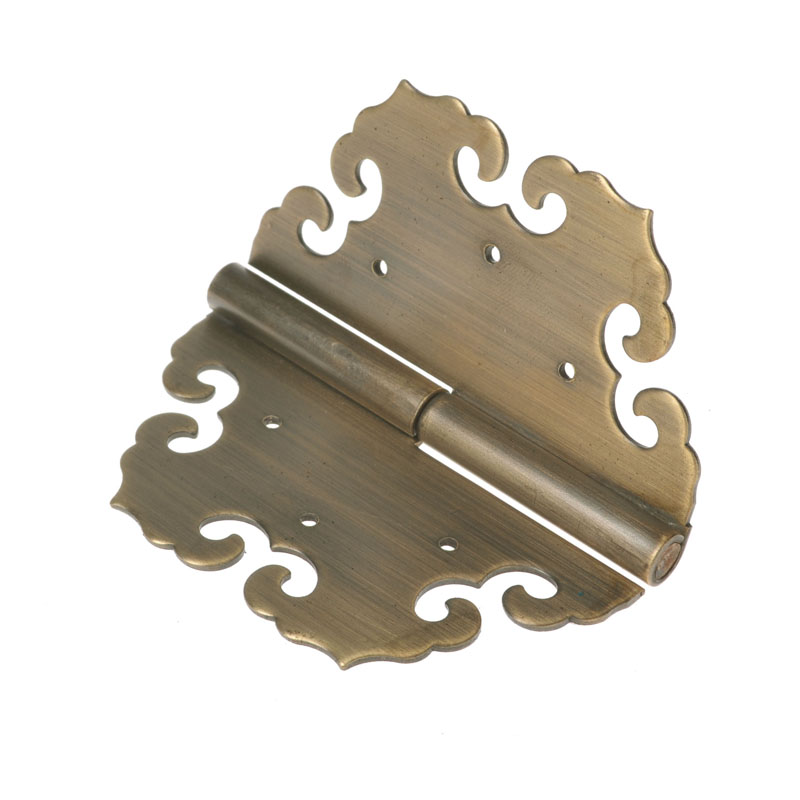 中国アンティーク彫りヒンジ明清部品頂箱柜精銅ヒンジ取っ手たんすを置き焦げ茶ヒンジ