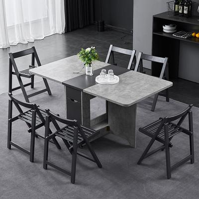 折叠餐桌小户型家用现代简约吃饭桌子北欧多功能可伸缩超薄餐桌椅
