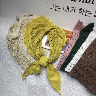 2019新品四季百搭造型韩版甜美复古刺绣拼接三角围巾围脖披肩森女