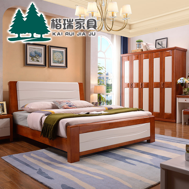 Solid wood bed, double bed storage bed, oak high box, simple modern Chinese style 1.51.8 meter bed master bedroom economy type