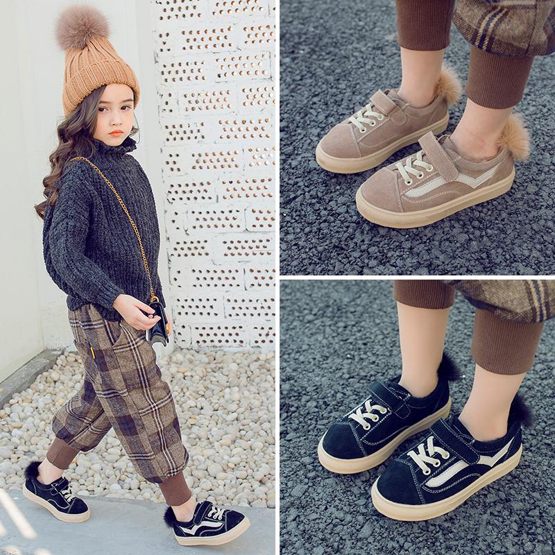 秋冬款儿童真皮运动鞋 男童休闲板鞋 韩版女童宝宝加绒女孩棉鞋潮