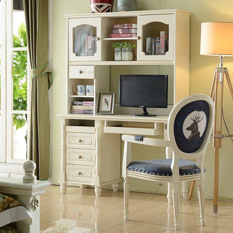 Estantería de madera maciza de escritorio el escritorio de la computadora de escritorio rectangular con estantería de una mesa blanca de aprendizaje