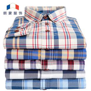 朗蒙春季男士纯棉格子长袖衬衫休闲加厚碳素磨毛韩版修身衬衫