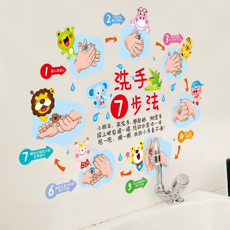 Cartoon Wallpaper Grădiniță de învățământ auto-adeziv Educație autocolante 7 pași de spălare Baie de baie Placi de perete Waterproof autocolante de perete