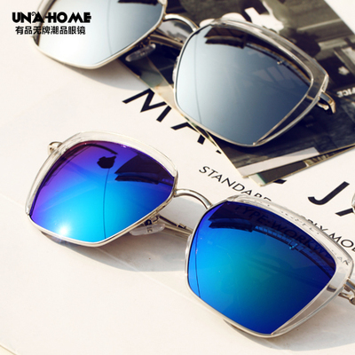 Star big box square Sunglasses fashionista Black Sunglasses 2015 half round multilateral reflective Sunglasses