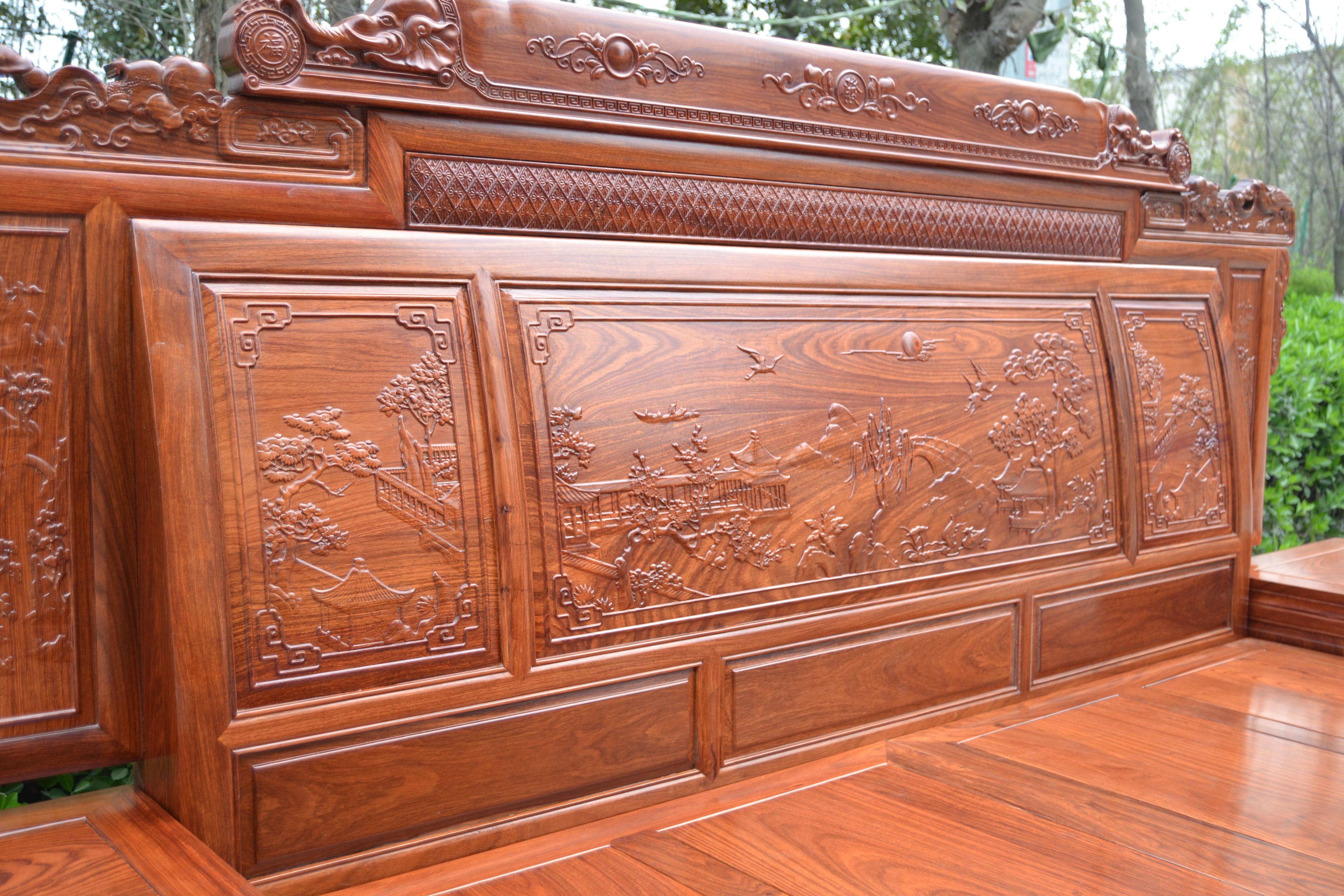 Mahogany bed 1.8 meters of antique Ming and Qing furniture mahogany mahogany wood double bed sandalwood Hedgehog