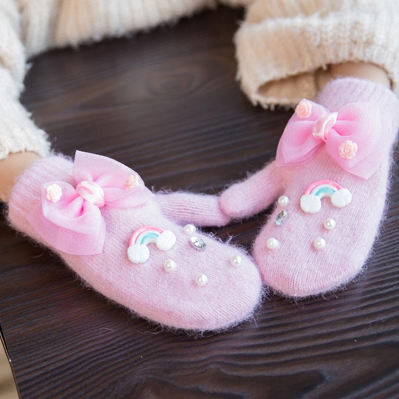 女童冬季兔毛手套加厚保暖儿童手套冬天DIY女孩连指手套全包手套