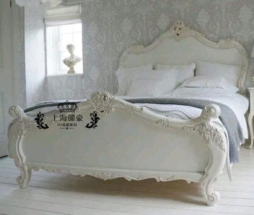 French retro carved oak double new American classical furniture export custom Jane bed bed