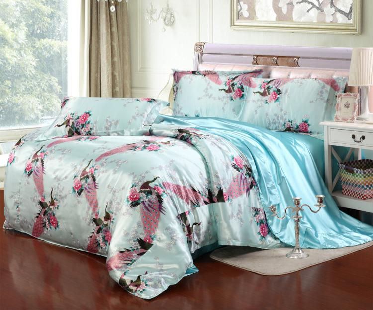 Summer Liangfang silk silk silk bedding set of four air conditioning quilt sheets fitted ink can be customized