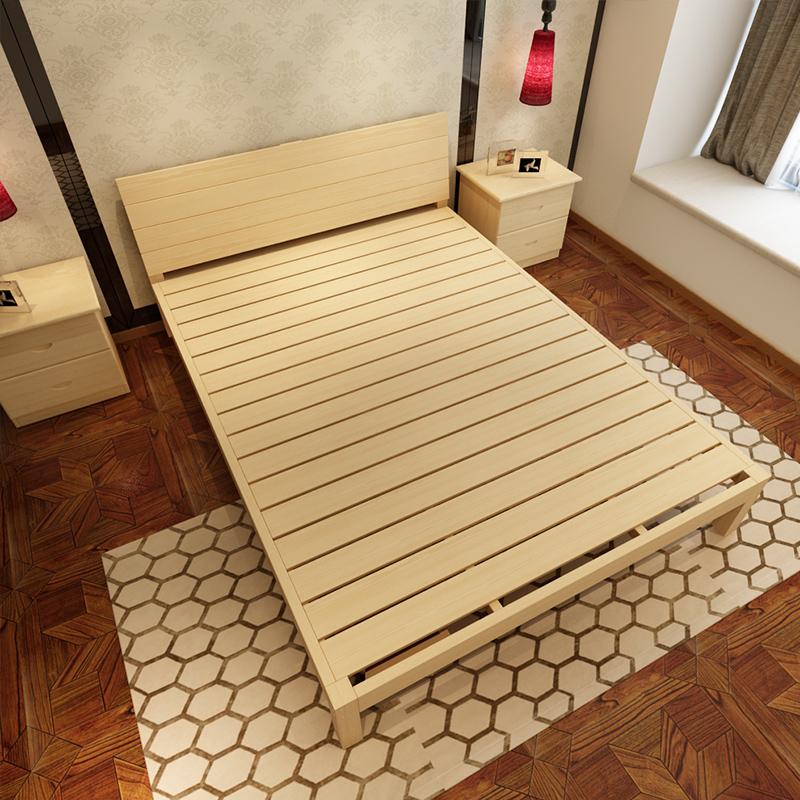 деревянные кровати Кровать двуспальная кровать 1,8 метров простой сосны 1,5 метров кровати Кровать для детей 1 метр простой 1,2 метров односпальная кровать