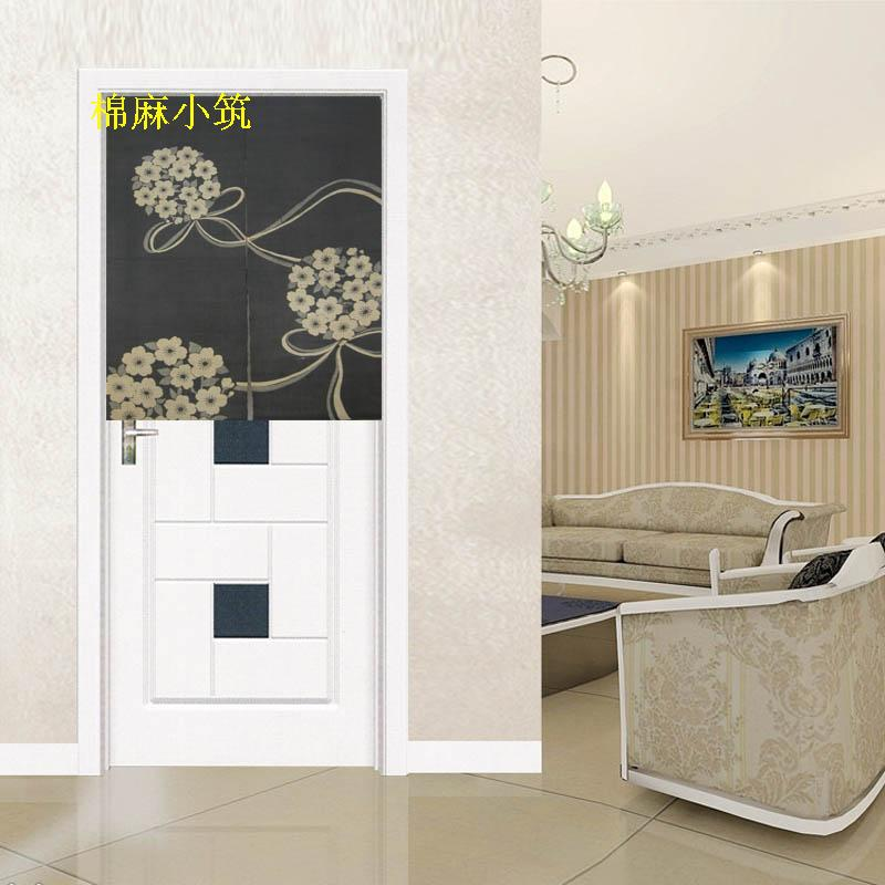 Linen curtain, foreign trade door curtain / warm curtain screen / partition black bottom white flower (short curtain)