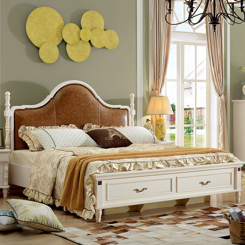 American country bed, bedroom furniture, small American bed, all solid wood bed, white European style double bed, simple beauty bed, marriage bed